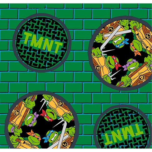 "TMNT Badge, Green, Fleece, 59/60"" Width, Fabric by the Yard - image 1 of 1"