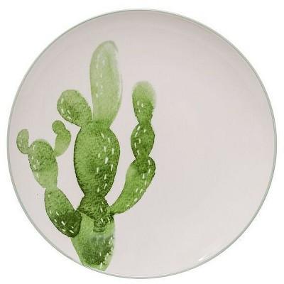 Ceramic Jade Plate with Cactus (10 )- 3R Studios