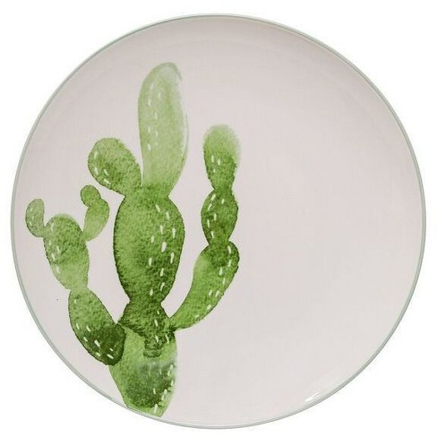 "Ceramic Jade Plate with Cactus (10"") - 3R Studios - image 1 of 1"