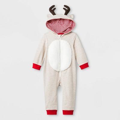 Baby Boys' Elevated Reindeer Romper - Cat & Jack™ Cream 12M