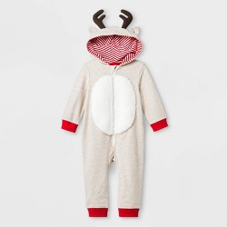 Baby Boys' Elevated Reindeer Romper - Cat & Jack™ Cream