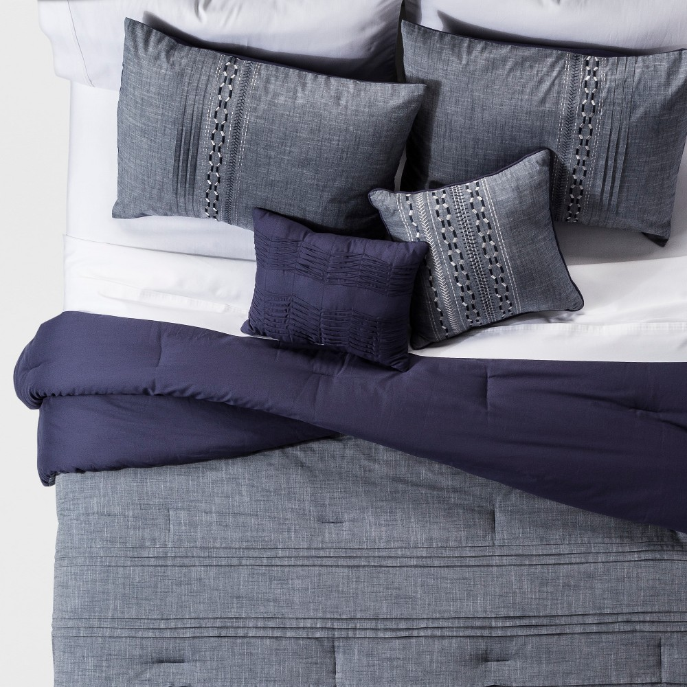 Navy (Blue) Ford Geo Embroidered Chambray Cotton Comforter Set (Full/Queen) 5pc - Jla Home