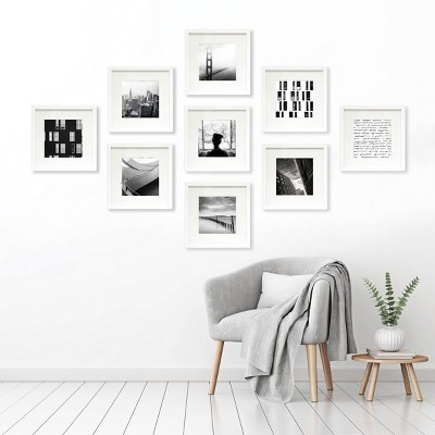 """(Set of 9)8"""" x 8"""" Matted Set White - Made By Design™"""