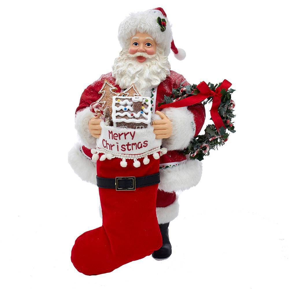 "Image of ""10.5"""" Kurt Adler Fabriché Gingerbread Santa with Stocking and Wreath Decorative Sculpture"""