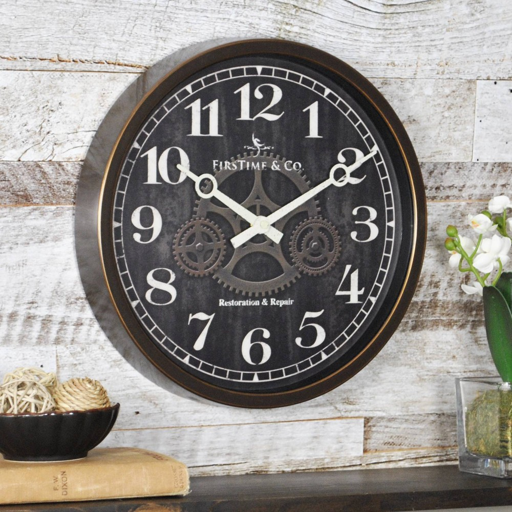 "Image of ""Industrial Gears 12"""" Round Wall Clock Brown/Gold - FirsTime"""