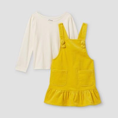 Toddler Girls' 2pc Corduroy Long Sleeve T-Shirt & Skirtall Set - art class™ Gold