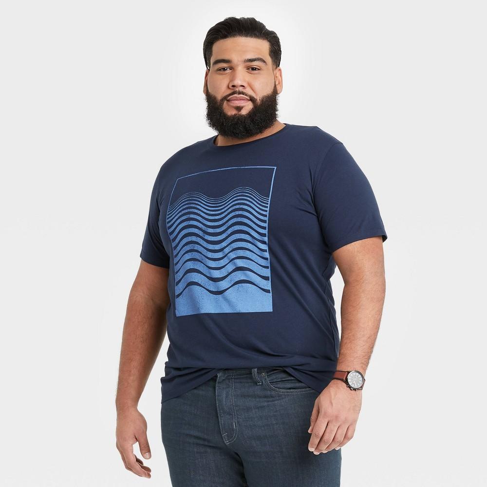Men 39 S Tall Regular Fit Short Sleeve Crewneck Graphic T Shirt Goodfellow 38 Co 8482 Blue Shapes Mt