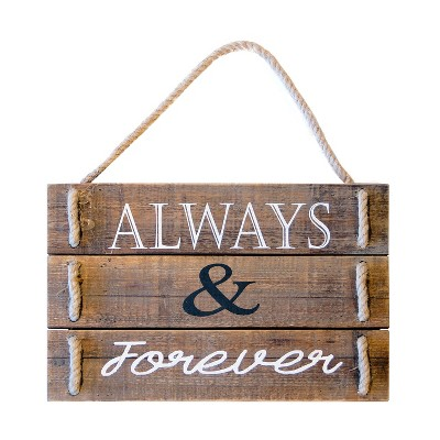 Wood  Always And Forever  Wall Sign Panels Brown 12  x 18  - VIP Home & Garden