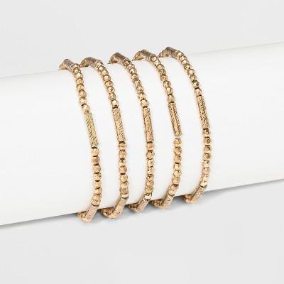 Beaded Stretch Bracelet Set 5ct - Universal Thread™ Gold