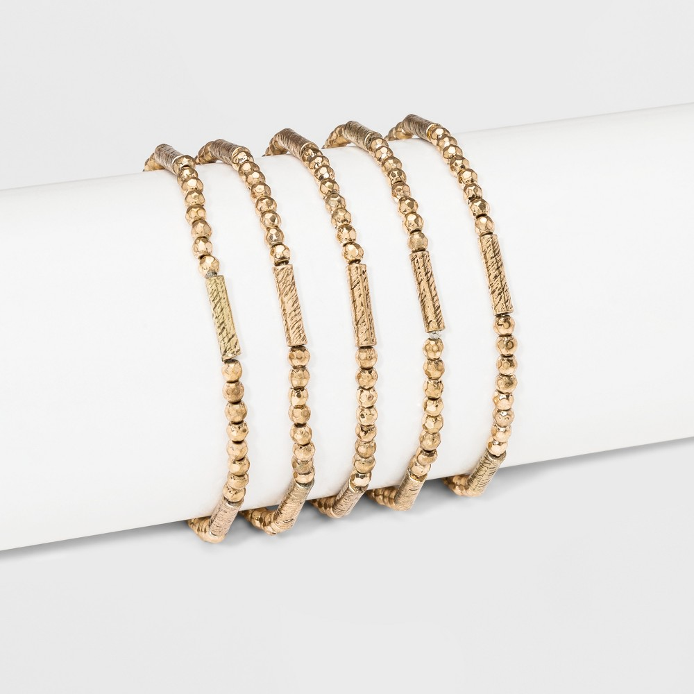 Image of Beaded Stretch Bracelet Set 5ct - Universal Thread Gold, Women's