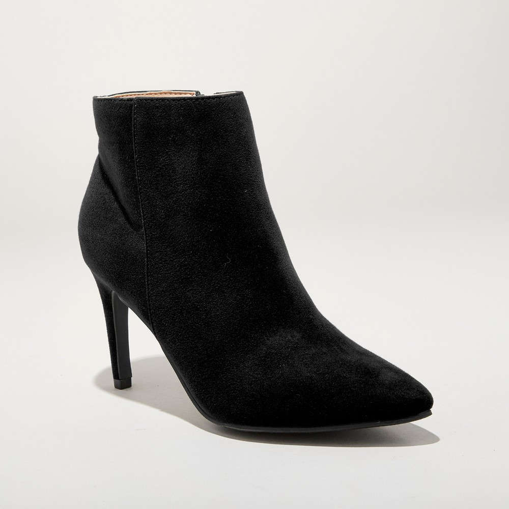 Women's Norelle Microsuede Stiletto Pointed Fashion Boots - A New Day Black 5