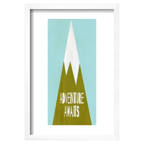 "Adventure Awaits - Silouhette Typography by Shanni Welch Framed Poster 13""x19"" - Art.Com - image 1 of 4"