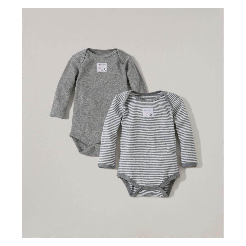 Burt S Bees Baby 174 Organic Cotton 2pk Long Sleeve Bodysuit Set Heather Gray 6 9m