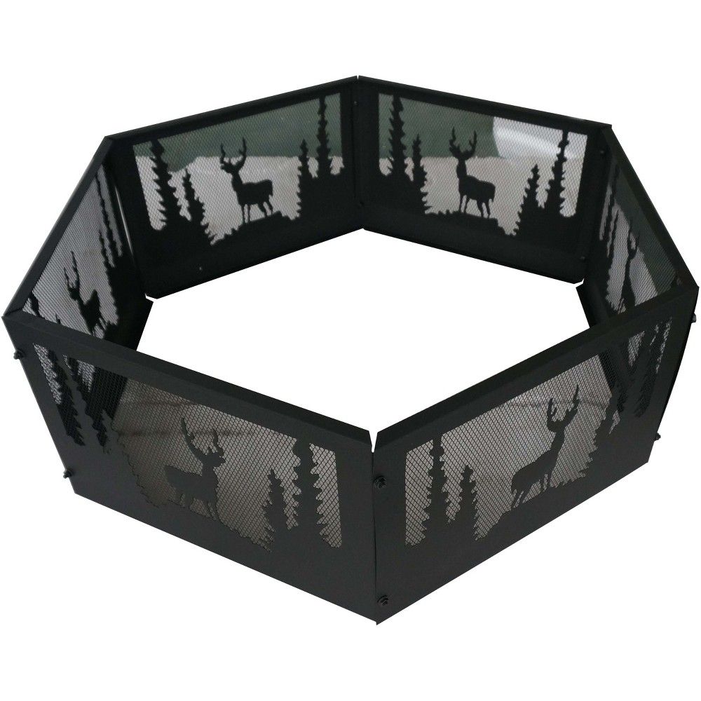 Image of 36 Wildlife Outdoor Fire Ring Black - Backyard Expressions