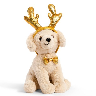 """FAO Schwarz Cheers 4 Antlers Yellow Labrador 12"""" Stuffed Animal with Removable Wear-and-Share Ears"""