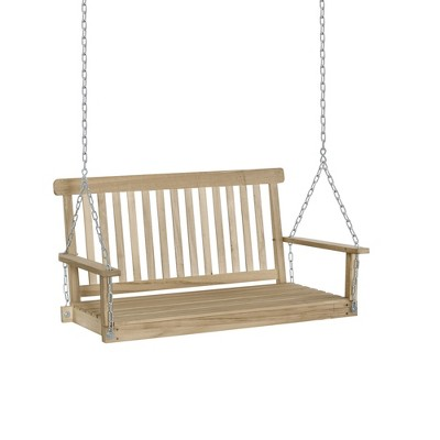 Outsunny 2-Seater Outdoor Patio Porch Swing Chair Seat with Hanging Chains