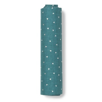 Muslin Swaddle Blanket Teal Triangles - Cloud Island™ Teal