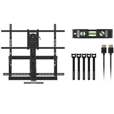 Monoprice Above Fireplace Pull-Down Full-Motion Articulating TV Wall Mount w/ Optional Soundbar Mount- For TVs 55in to 80in  Max Weight 132lbs