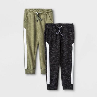 Toddler Boys' 2pk Athletic Striped Knit Pull-On Jogger Pants - Cat & Jack™ Olive Green/Black