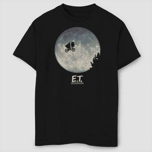 Boys' E.T. the Extra-Terrestrial Flying Silhouette T-Shirt - Black - image 1 of 2