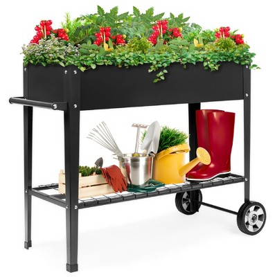 Best Choice Products Mobile Raised Ergonomic Metal Planter Garden Bed w/Wheels, Lower Shelf, 38x16x32in, Dark Gray