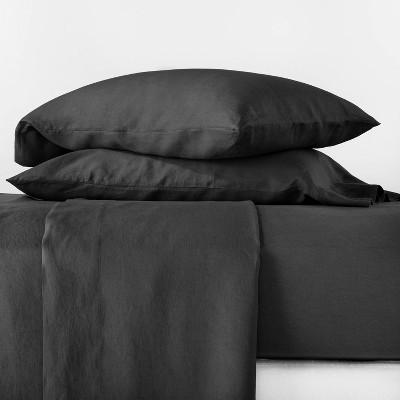 King 100% Linen Solid Sheet Set Washed Black - Casaluna™