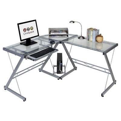Glass L Shaped Computer Desk with Keyboard Tray - OneSpace