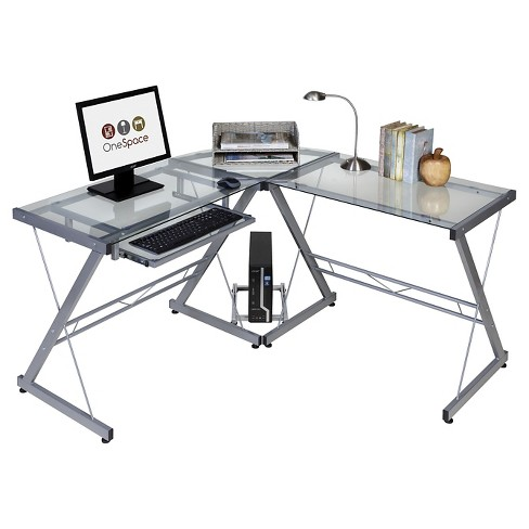 Onespace 50 Jn110500 Ultramodern Glass L Shape Desk Black And Clear