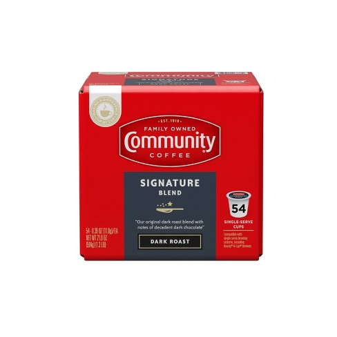 Community Coffee Signature Blend Dark Roast Coffee - Keurig K-Cup Brewer Compatible Pods - 54ct - image 1 of 4