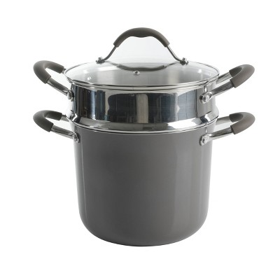 Cravings by Chrissy Teigen 6qt Aluminum Stock Pot with Steamer Insert - Shadow