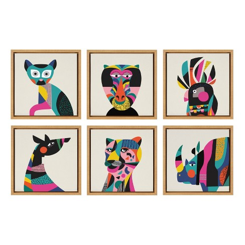 """6pc 13"""" x 13"""" Sylvie Animal Framed Canvas Wall Art by Rachel Lee Natural - Kate and Laurel - image 1 of 4"""
