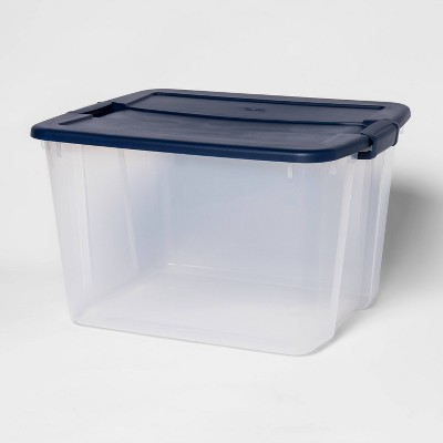 66qt Latching Tote Clear Navy - Room Essentials™
