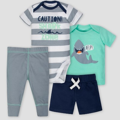 Gerber Baby Boys' 4pc Ocean Stripe Shorts Bodysuit Shirt and Pant Set - Green/Blue 6-9M