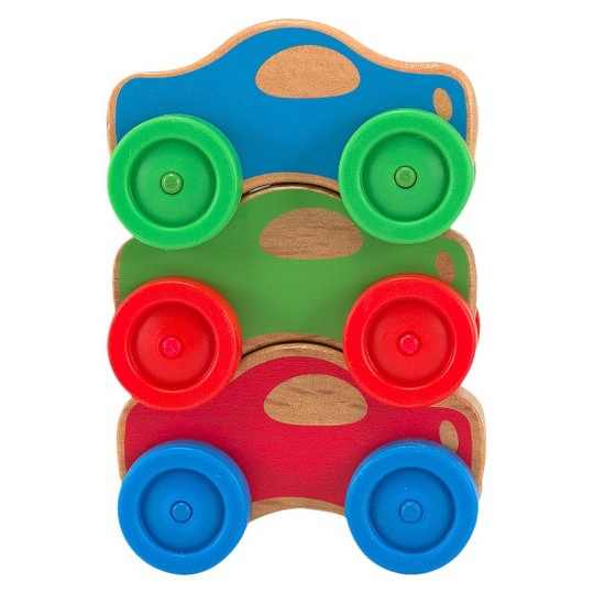 Melissa & Doug Stacking Cars Wooden Baby Toy image number null