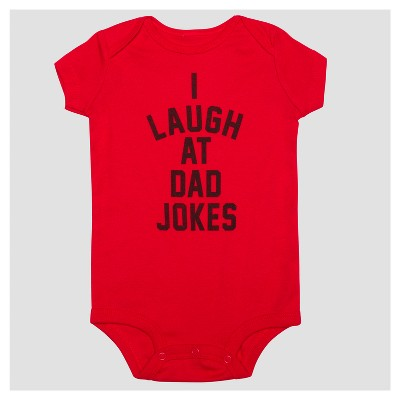 Baby I Laugh At Dad Jokes Short Sleeve Bodysuit - Red 3M
