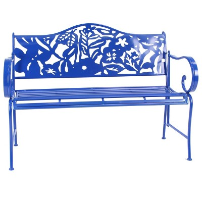 Farmhouse Iron Outdoor Bench - Blue - Olivia & May