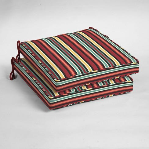 2pk Abella Stripe Single Welt Outdoor Seat Cushions Ruby - Arden Selections - image 1 of 2