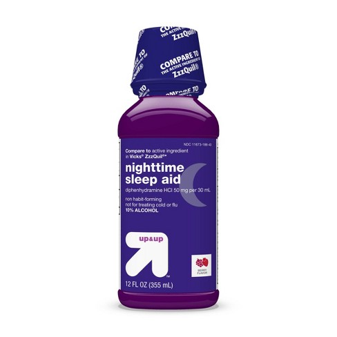 Diphenhydramine HCl Nighttime Sleep Aid Liquid - Berry - 12 fl oz - Up&Up™ - image 1 of 4