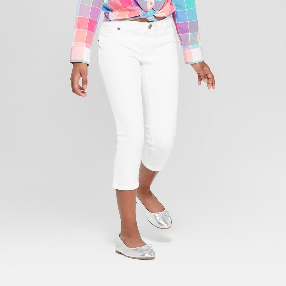 Girls' Crop Jeans - Cat & Jack White 12 Slim