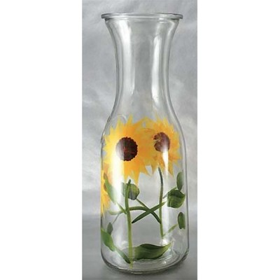 Grant Howard 34 Ounce Capacity Elegant Hand Painted Beverage Glass Carafe Decanter Versatile Drink Pitcher, Sunflower Field Design