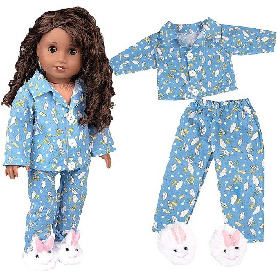 Dress Along Dolly Easter Bunny Blue Pajamas Outfit for American Girl Doll