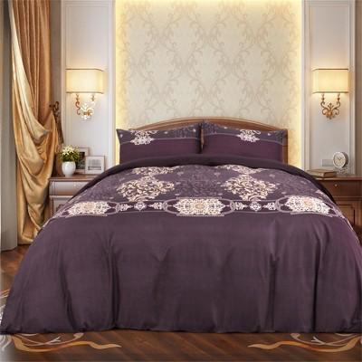 3 Pcs Microfiber Palace-style Pattern Reversible Design Bedding Sets King Purple - PiccoCasa