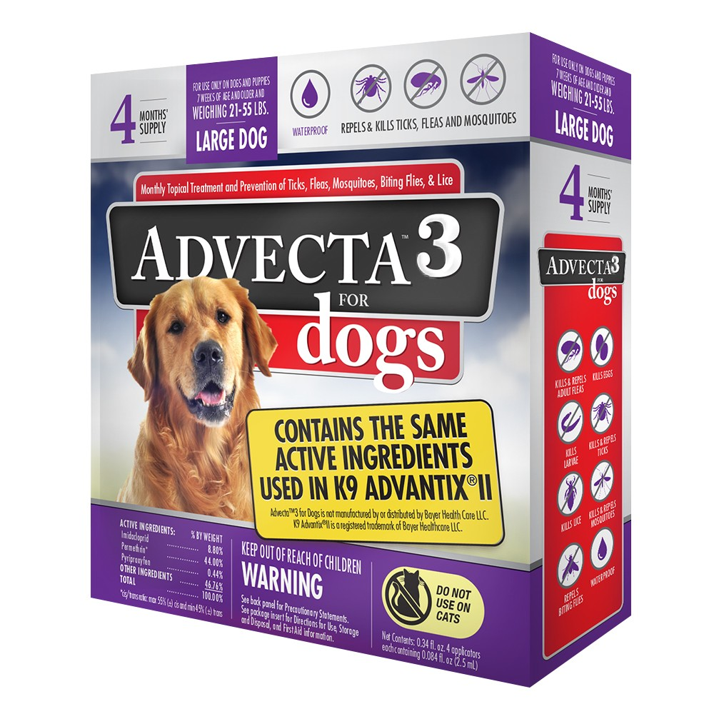 Image of Advecta Flea Drops Pet Insect Treatment for Dogs - 21 to 55lbs - 4ct