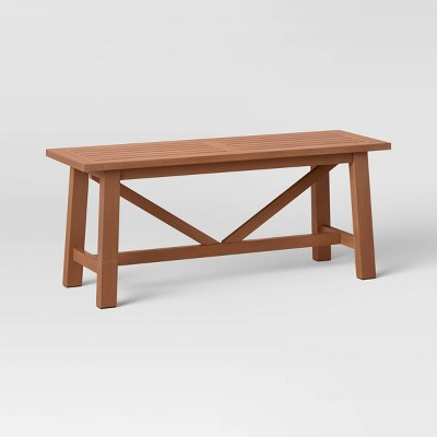 Morie Wood Patio Farmhouse Dining Bench - Brown - Threshold™