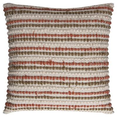 "20""x20"" Oversize Striped Square Throw Pillow Cover Dark Orange - Rizzy Home"