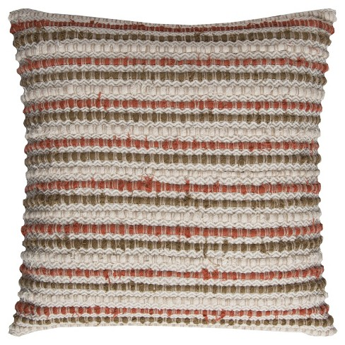 """20""""x20"""" Oversize Striped Square Throw Pillow Cover Dark Orange - Rizzy Home - image 1 of 3"""