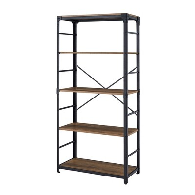 "64"" Angle Iron 4 Tiered Metal and Wood Bookshelf - Saracina Home"