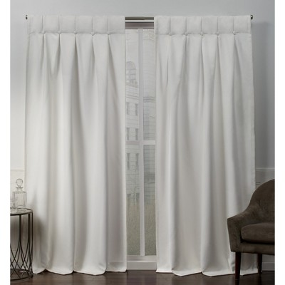 "Set of 2 96""x32"" Sateen Woven Blackout Button Top Window Curtain Panel Vanilla - Exclusive Home"