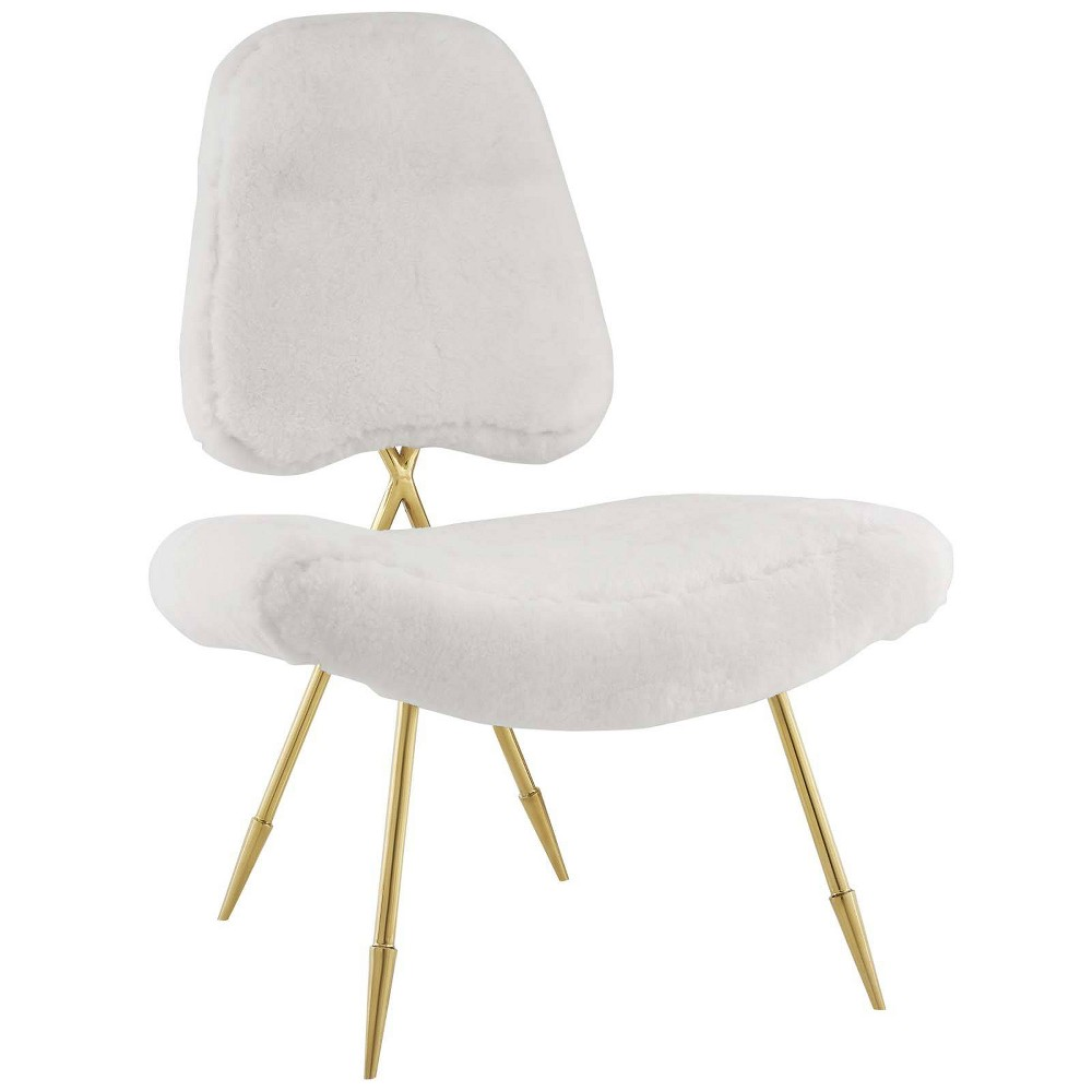 Ponder Upholstered Sheepskin Faux Fur Lounge Chair White - Modway