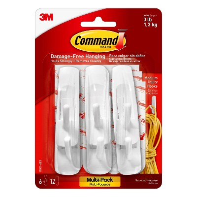 Command Medium Sized Utility Hooks Value Pack (6 Hooks 12 Strips)White